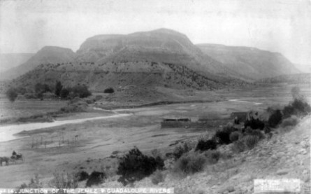 Junction of the Jemez and Guadaloupe Rivers, 1884; Photoprint copyrighted by B.L. Cook, E.A. Bass, and E.M. Robinson