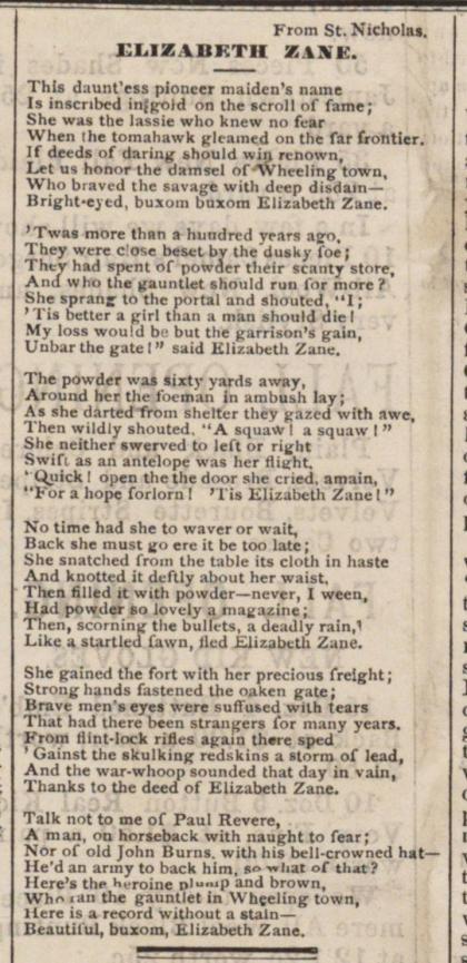 Elizabeth Zane - Poem from St Nicholas