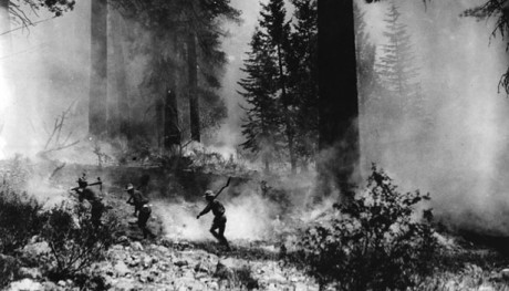 Fire fighters going to the front; Lassen National Forest, California, 1927 (FHS5536); Credit: U.S. Forest Service History